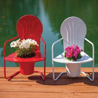 Retro Metal Chair Planters