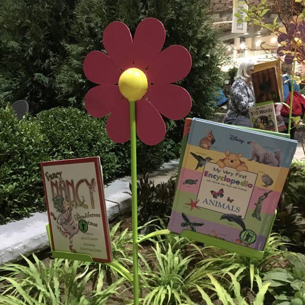 Books as flower leaves at the Chicago Flower & Garden Show - National Garden Bureau