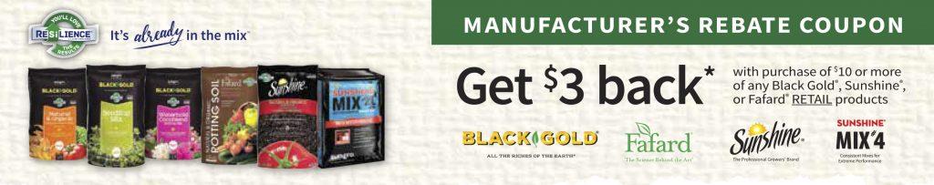 SunGro $3.00 Rebate Coupon when you purchase $10.00 - National Garden Bureau