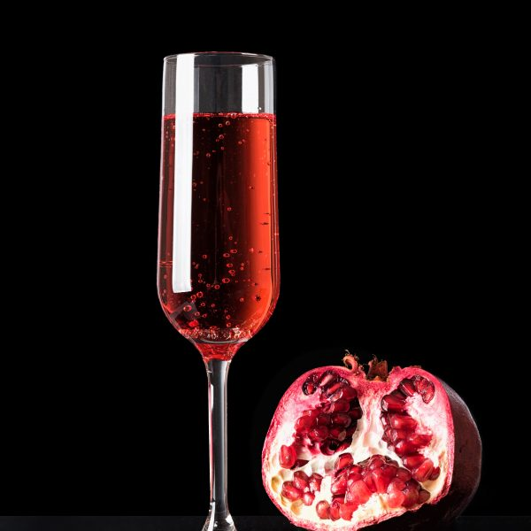 Pink Champagne in glass is perfect for garden cocktails