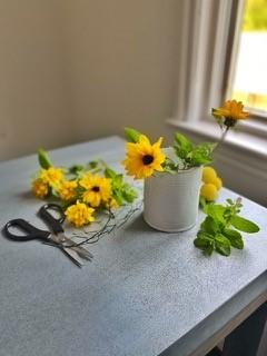 Start of Sunflower cut flower arrangement