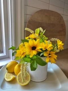 Finished Sunflower cut flower arrangement to make for your summer sunflower craft
